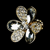 Lovely Gold Clear Flower Ring 1001
