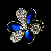 Lovely Gold Royal Blue Flower Ring 1001