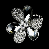 Lovely Silver Clear flower Ring 1001