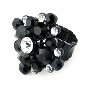 Jet Black & Clear Crystal Stretch Ring 950