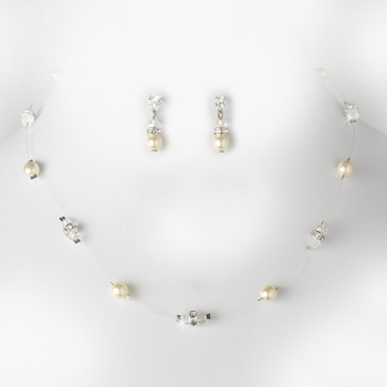 Necklace Earring Set N 8364 E 216 Silver Ivory