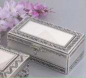 Silver Plated Rectangular Bridesmaid Jewelry Box 26037