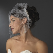 Ivory Pearl Covered Comb with Attached Russian Tulle Blusher Veil in Gold 8933