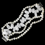 Cultured Freshwater Pearl & Glazed Crystal Bracelet B 8198 (**1 Piece Left in Stock**)