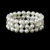 White Pearl & Crystal Stretch Bracelet B 10419