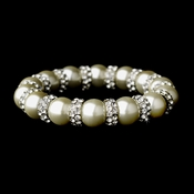 Wonderful Silver Clear Rhinestone & Ivory Pearl Stretch Bracelet 8478