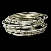 Lovely Silver Pearl Bangle Bracelet B 8348