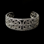 Vintage Silver Clear Cubic Zirconia Bangle Bracelet 2488