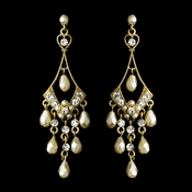 Rhodium Gold Cream Pearl Chandelier Earring Set 955