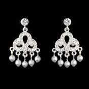 Silver & White Pearl Bridal Earrings E 500 Chandelier