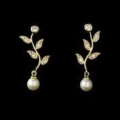 Gold & Ivory Pearl Vine Bridal Earrings E 3512