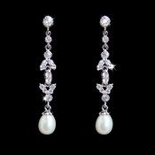 Stunning Cubic Zirconia Crystal & Pearl Drop Bridal Earrings E 2525