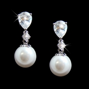 Teardrop Cubic Zirconia and Pearl Drop Bridal Earrings E 3889