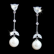 Beautiful Cubic Zirconia Bridal Earrings with a Pearl Drop E 3697