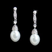 Simple Cubic Zirconia Vintage Bridal Pearl Drop Earrings E 3877