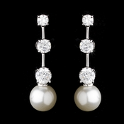 E 3956 Three Stone Cubic Zirconia and Pearl Earring