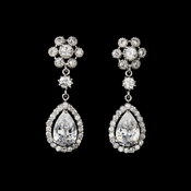 Vintage Silver Clear Cubic Zirconia Earrings 3091