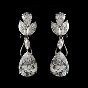 French Pierced Silver Cubic Zirconia Earrings E2807