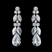 Antique Silver Clear Cubic Zirconia Earring Set 5883