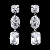 Glamorous Silver Clear CZ Dangle Earrings 5820