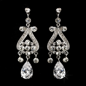 Antique Silver Clear Cubic Zirconia Earring Set  E 1990
