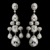 """Miss Universe 2012"" Silver Clear Marquise & Oval CZ Stone Drop Earrings 8781"
