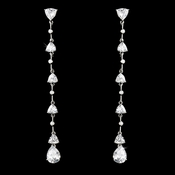 Gorgeous Antique Silver Clear CZ Dangle Earrings E 3834