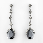 Silver & Black Vintage Teardrop Dangle Earrings E 948