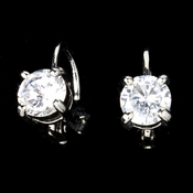 Silver Lever Back Cubic Zirconia Solitaire Earrings E-6000