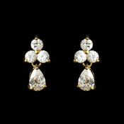 Lovely Gold Clear CZ Earrings 2262