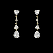 Stunning Gold Clear CZ Earrings 3609