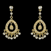 Stunning Gold Clear Cubic Zirconia Chandelier Earrings 6191