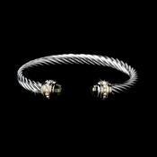 Silver with Olive Stones Twisted Design Designer Bangle Bracelet B5007-OL