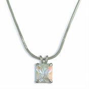 Silver-AB Cubic Zirconia Necklace N3322-AB