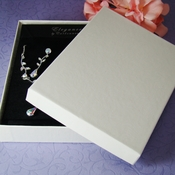 """White or Black Jewelry Presentation Box 5 1/4"""" long x 3 3/4"""" wide Cotton Filled"""