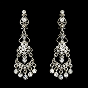 Vintage Floral Rhinestone Clip On Chandelier Earring - E 8416 ** Discontinued**