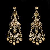 Bridal Chandelier Earring with Topaz Crystals E 8415 Gold