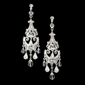 Silver Clear Bridal Chandelier Earrings E 8319