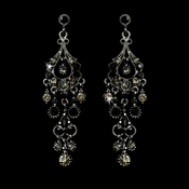 Antique Silver Black Crystal Chandelier Earrings 1028