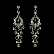 Antique Silver Clear Crystal Chandelier Earrings 1028