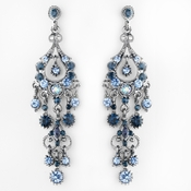 Antique Silver Navy AB Crystal Chandelier Earrings 1028