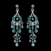 Antique Silver Turquoise AB Crystal Chandelier Earrings 1028