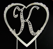 Large Vintage Initial & Large French Flower Heart Set