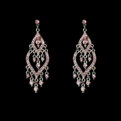 * Fabulous Silver Pink Rhinestone Chandelier Earrings 4329 ( 1 In Stock)