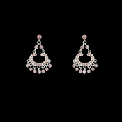 * Silver Pink Rhinestone Earrings E 20377
