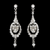 Silver Clear Vintage Dangle Earrings E 947