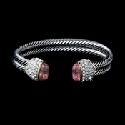 Designer Inspired Double Silver Cable Bangle Bracelet w/ Pink Crystal Stones 3262