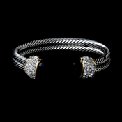 Designer Inspired Double Silver Cable Bangle Bracelet w/ Black Crystal Stones 3262