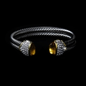 Silver with Yellow Stones Double Cuff Designer Bangle Bracelet 3262