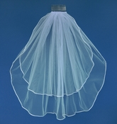 "Double Layer Shoulder Length Ratail Edge Bridal Veil 20"" and 25"" VR S"